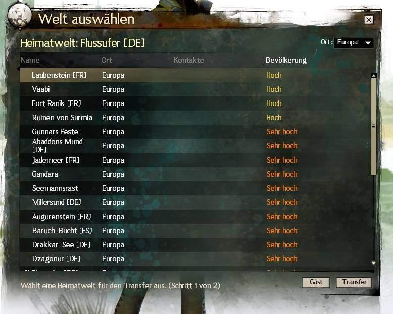 Guild Wars 2 Weltenauswahl