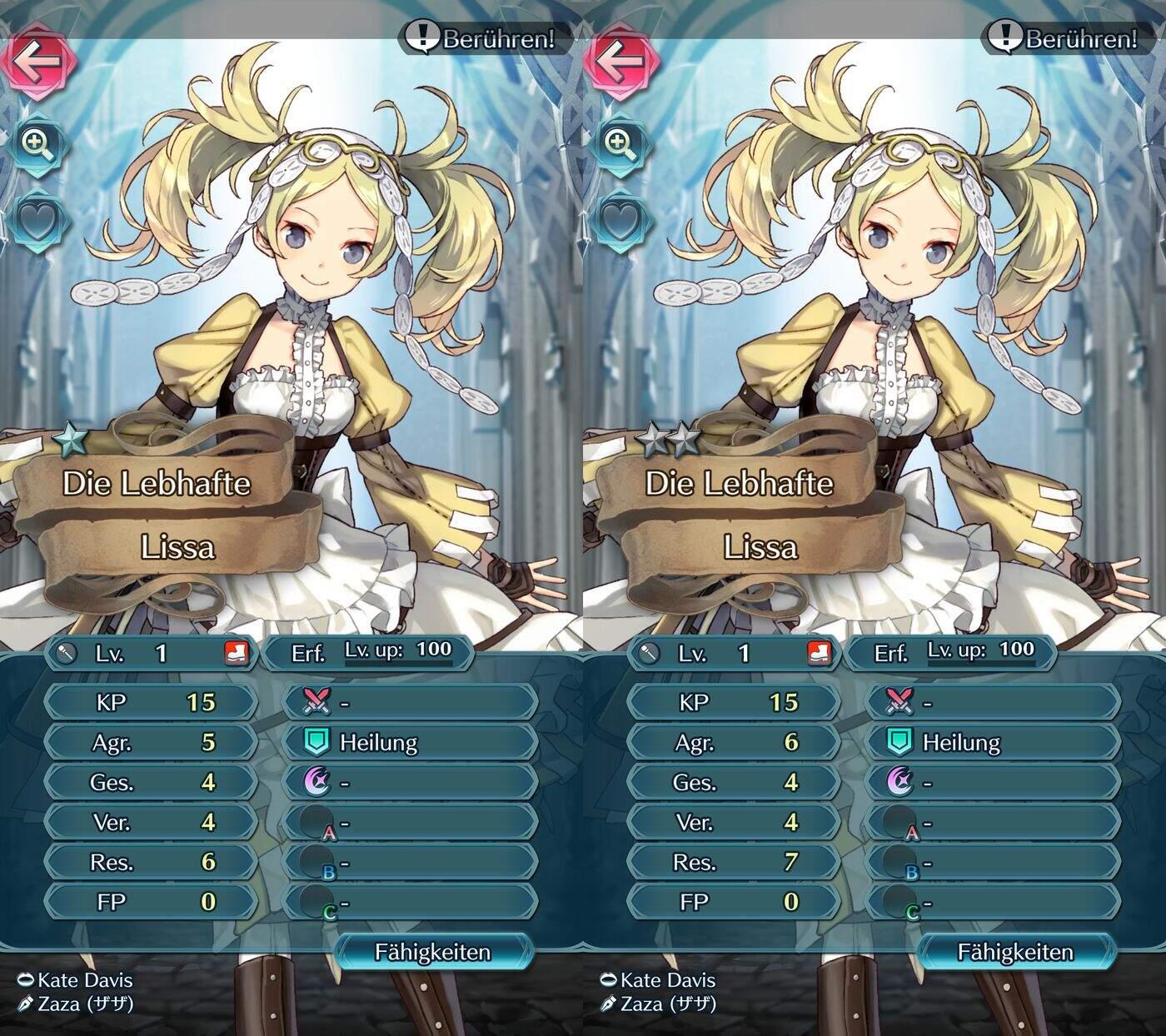 Fire Emblem Heroes Charaktere Lissa 1 und 2 Sterne
