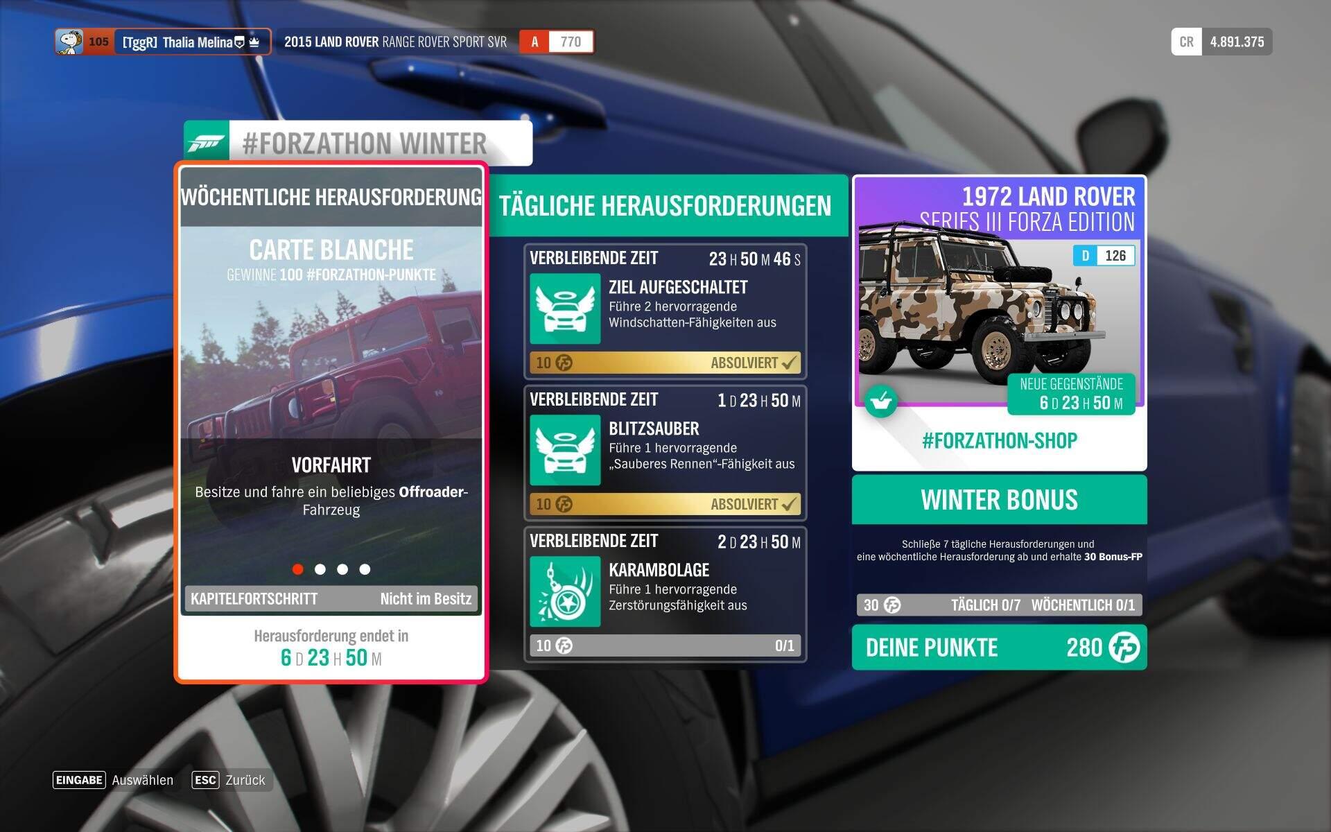 Forza Horizon 4 #Forzathon Guide KW 41 – Carte Blanche Aufgabe 1