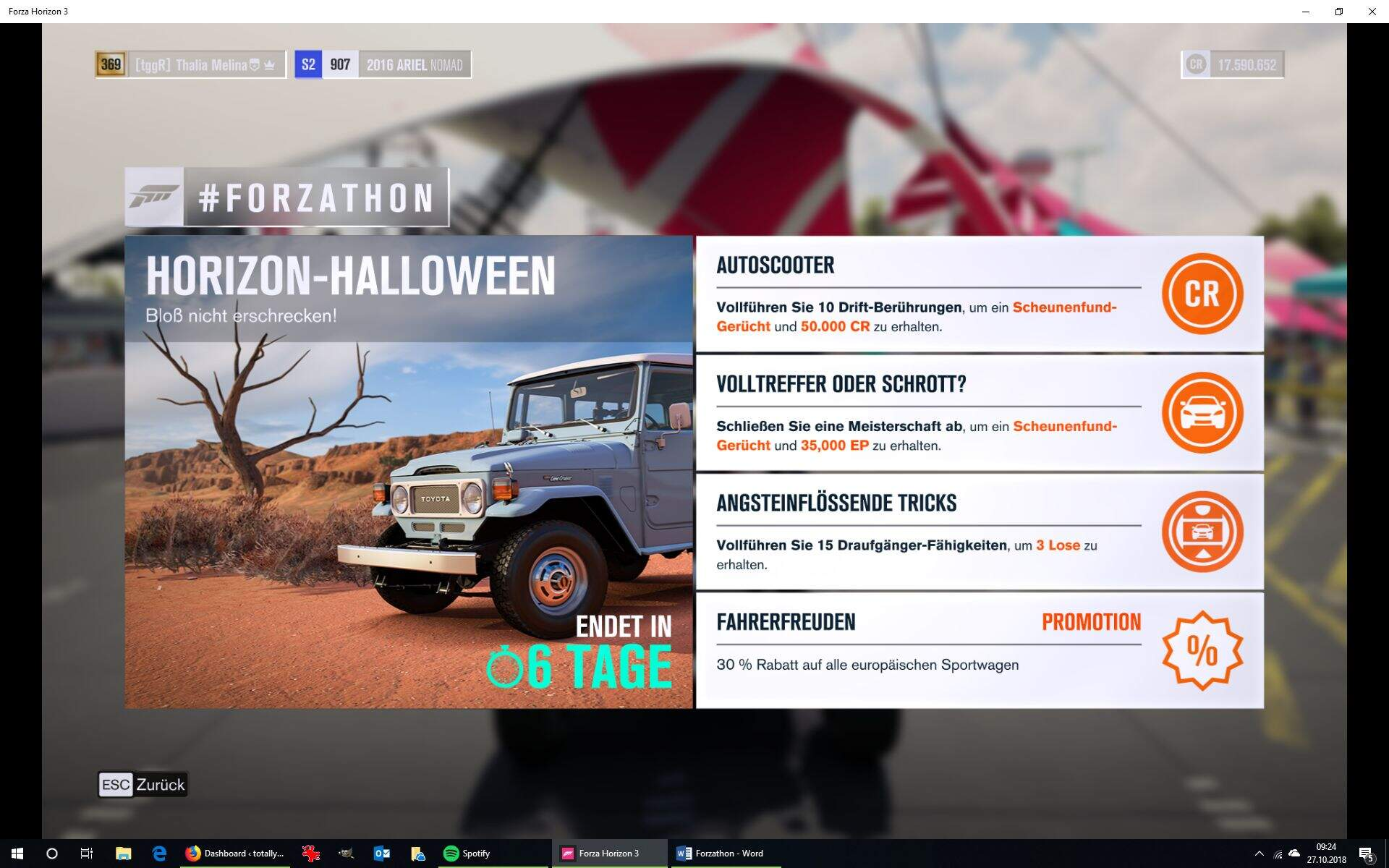 Forza Horizon 3 #Forzathon Guide KW 43 – Horizon-Halloween