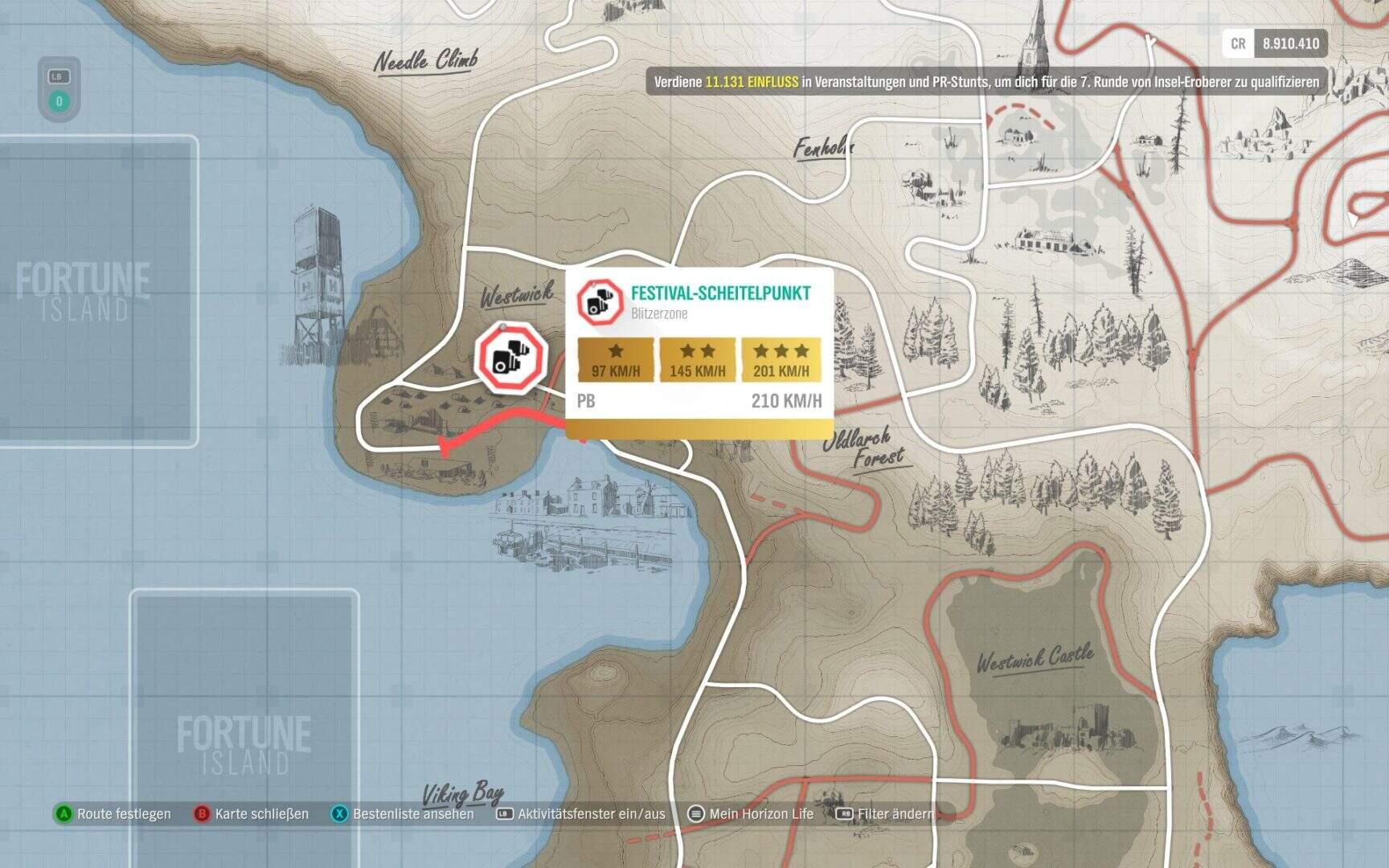 Forza Horizon 4 Fortune Island Festival Scheitelpunkt Blitzerzone