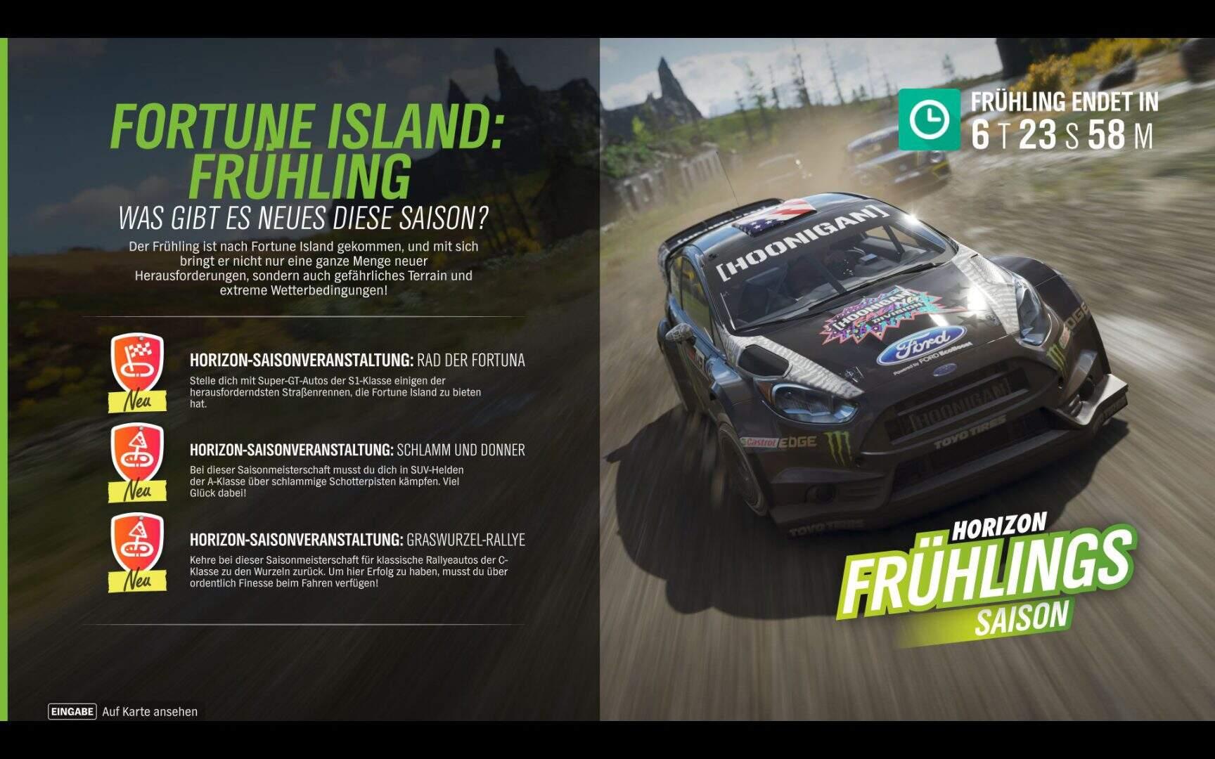Forza Horizon 4 Aktivitäten Frühling KW 02 2019 Fortune Island
