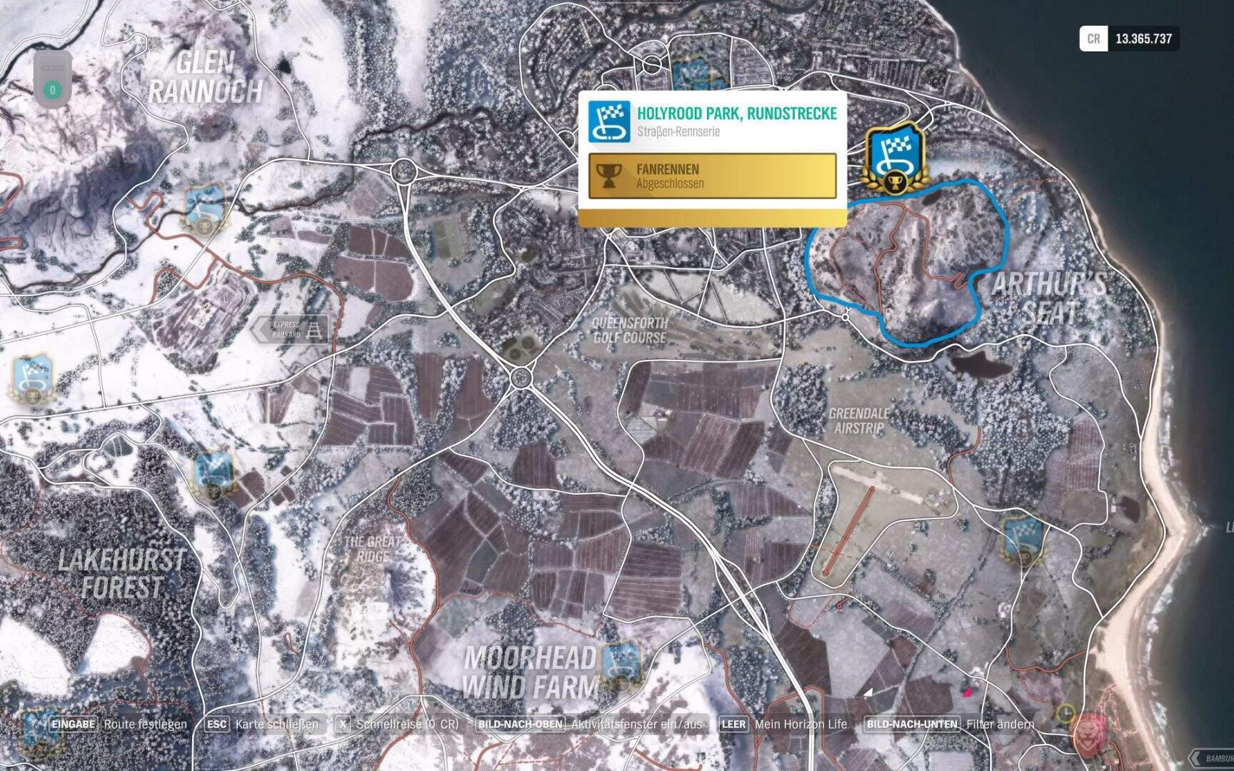 Forza Horizon 4 Holyrookd Park Rundstrecke, Location