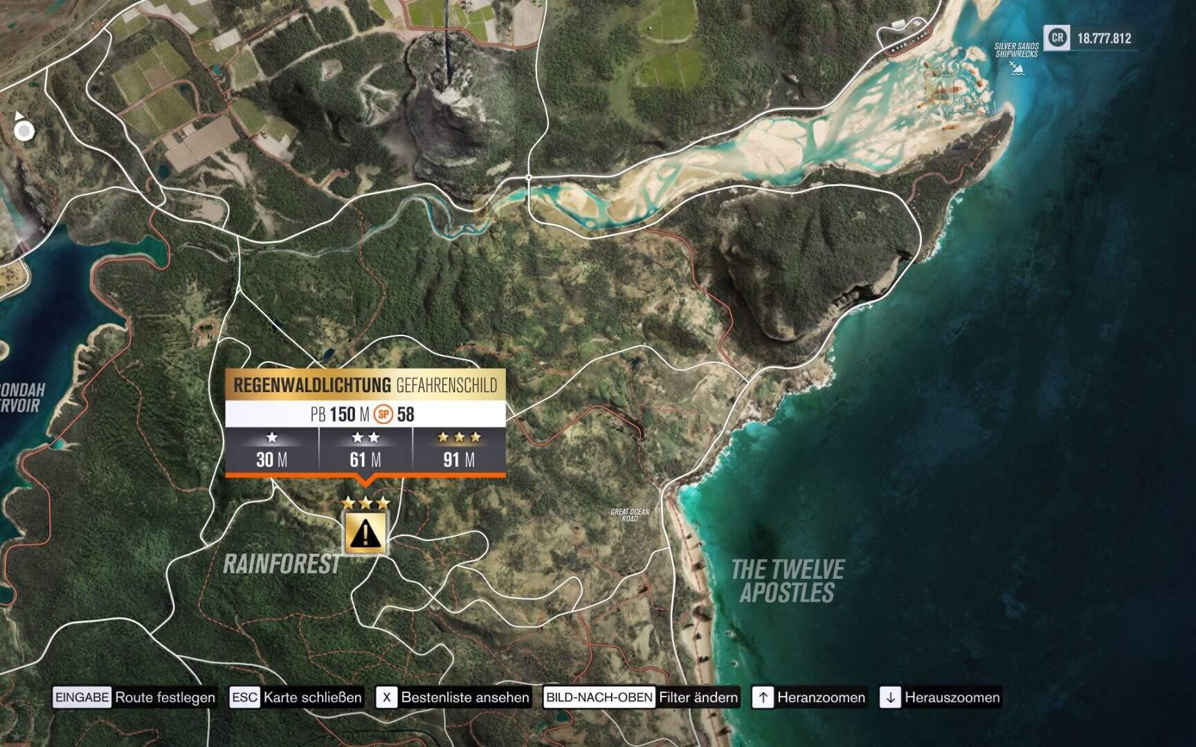 Forza Horizon 3 Regenwaldlichtung Gefahrenschild