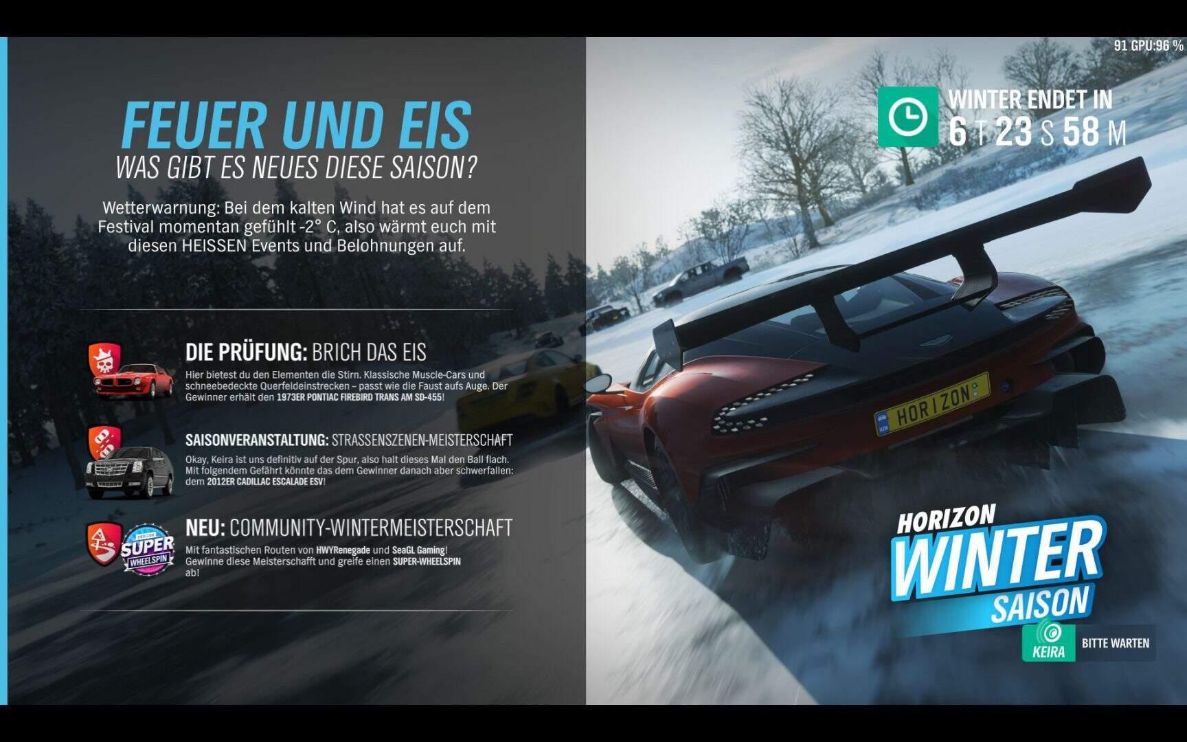 Forza Horizon 4 Aktivitäten Winter KW 09 / 2019