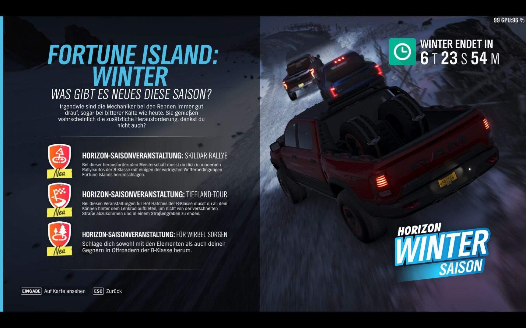 Forza Horizon 4 Aktivitäten Winter KW 09 / 2019 Fortune Island