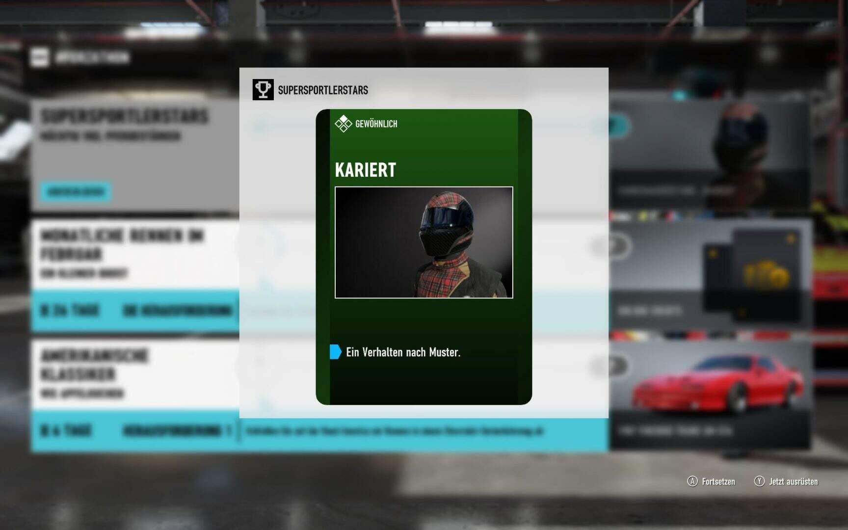 Forza Motorsport 7 Fahrerausrüstung Kariert
