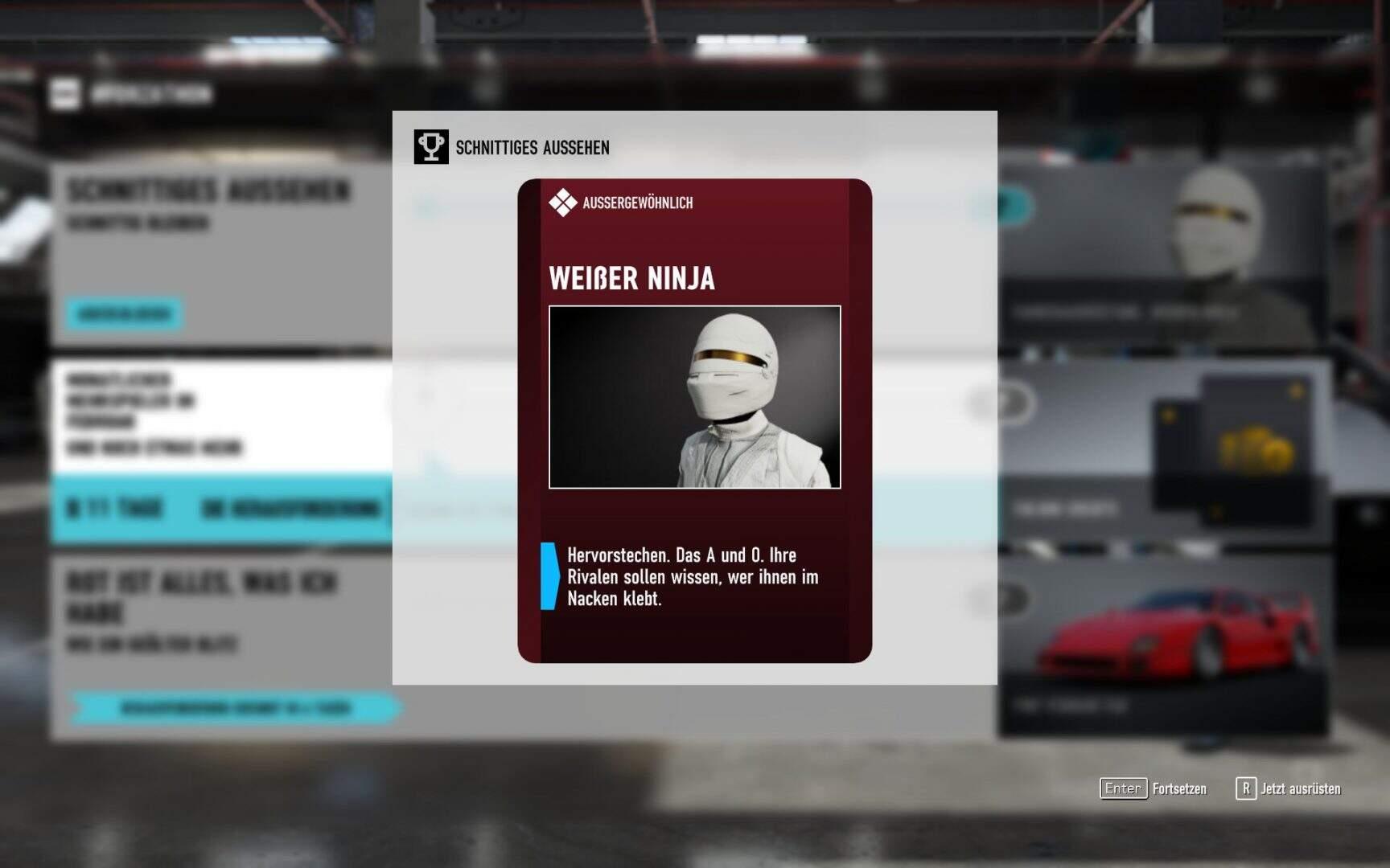 """Forza Motorsport 7 """"Weißer Ninja"""" Fahrerausrüstung"""
