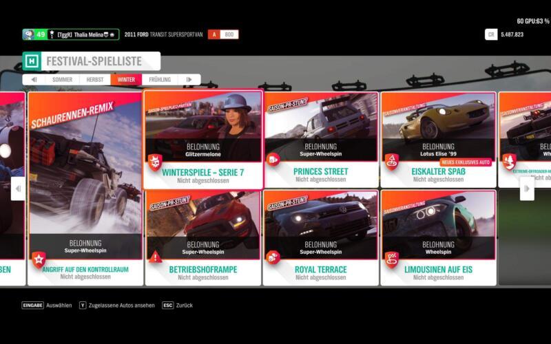 Forza Horizon 4 Festival Spielliste Winter KW 13 / 2019