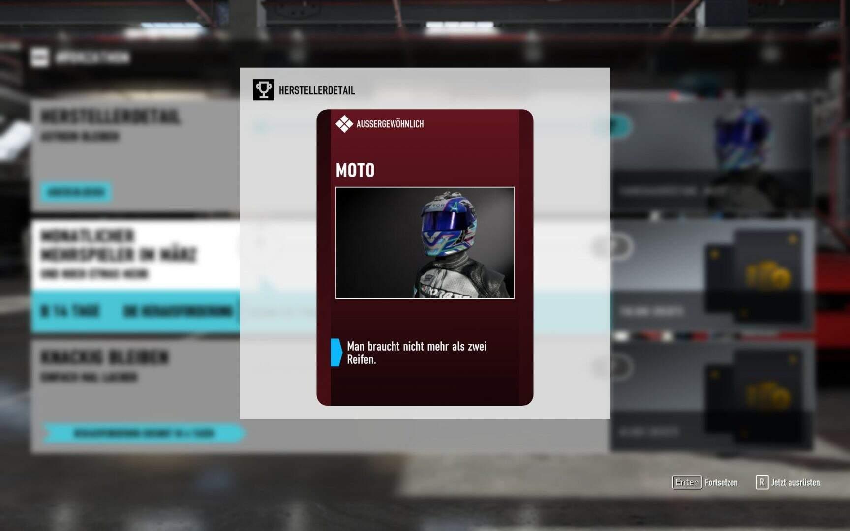 Forza Motorsport 7 Fahrerausrüstung Moto