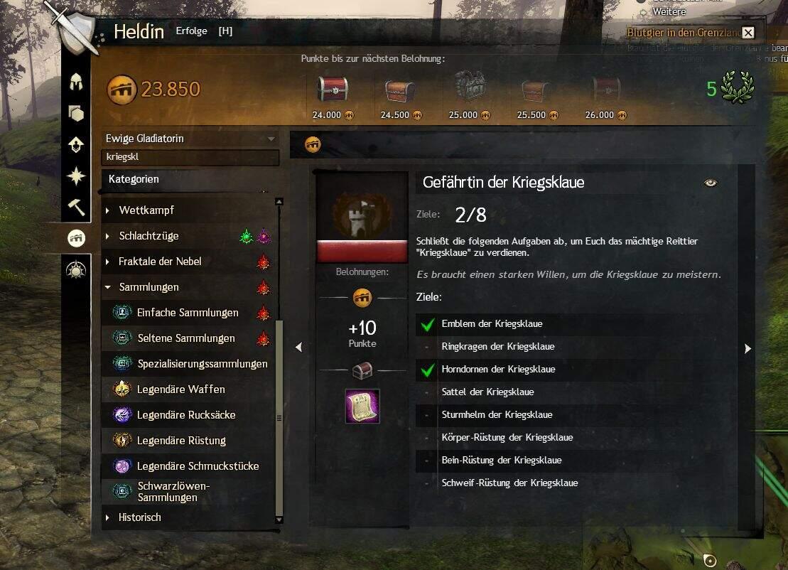 Guild Wars 2 Gefährtin der Kriegsklaue Sammlung