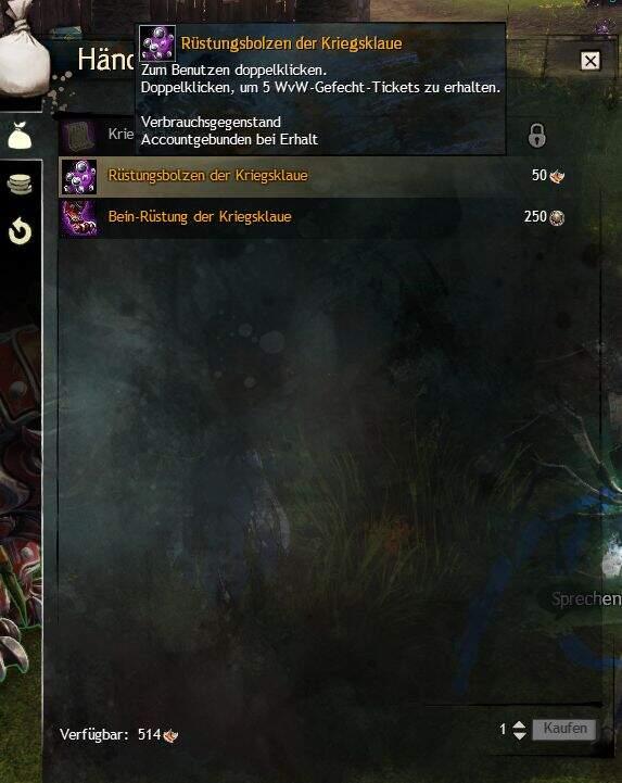 Guild Wars 2 Kriegsklaue Händlerin