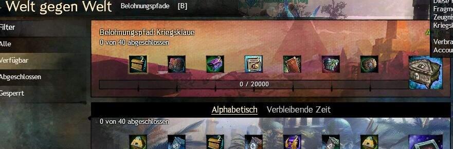 Guild Wars 2 Welt gegen Welt Belohnungspfad Kriegsklaue